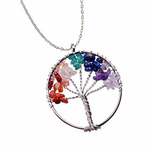 Joya Gift Fashion 7 Chakra Gemstone Life Wisdom Tree Natural Crystal Stone Handmade Multicolored Gravel Circle Pendant for Necklace Jewelry