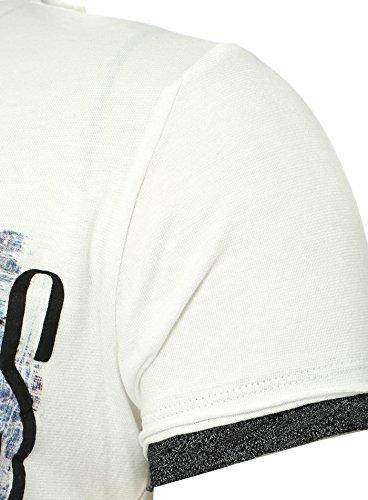 Key Largo Hombres T-shirt COWBOYS en el Double Busque con USA Vintage Imprimir Schädel Cráneo Blanco M