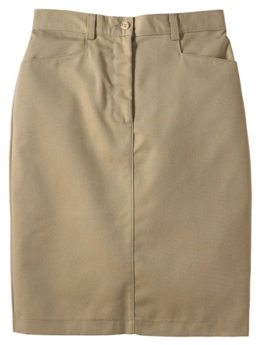 Edwards Garment Women's Flat Front Chino Skirt_TAN_2 (Woman Flat Front)