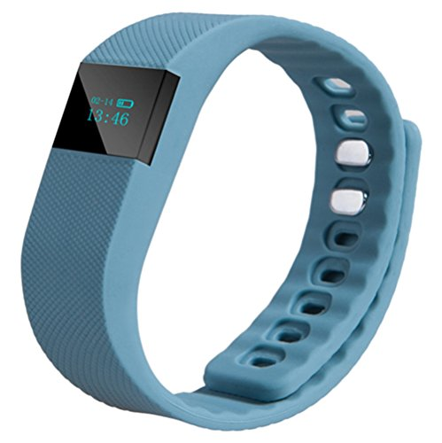 Kortusa Fitness Tracker Watch - Bluetooth 4.0 Sleep Monitor Calorie Counter Pedometer Sport Activity Tracker Wristband for Android and IOS Smart Phone (Grey Blue)