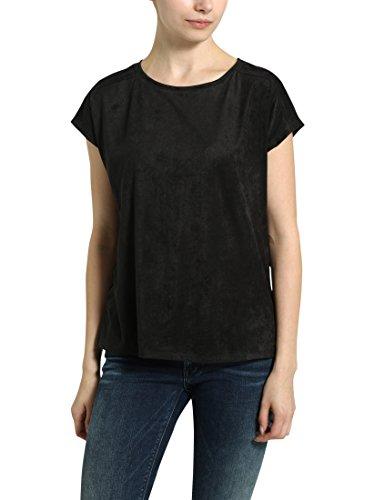 Berydale Rundhals In Verlourleder-Optik, Camiseta para Mujer Negro (Schwarz)