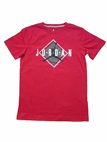 Boys Youth Air Jordan Capsule Crew Neck Tee (Medium (10-12 Years), Gym Red)