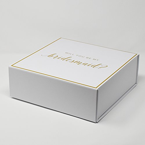 Bridesmaid Proposal Box with Gold Foiled Text | Set of 1 Empty Box | Perfect for Will You Be My Bridesmaid Gift and Wedding Present by Sunday Wedding Favorites (Image #1)