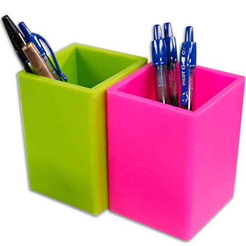 Fernaco Pen and Pencil Holders for Desk or Makeup Brush Holder (Set of 2), Bright Green and Pink, Luxury Office Organizers , Non-Mesh Silicone Cups ... (Neon Makeup Brushes)