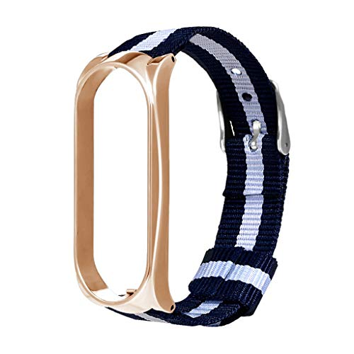 Price comparison product image MChoiceLuxury Nylon Metal Wristband Sport Strap Watch Band for Xiaomi Mi Band 3 (Gold)