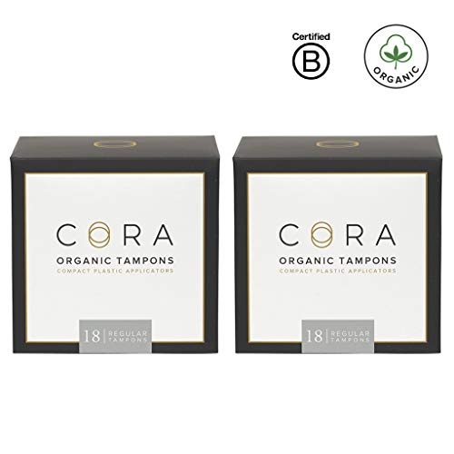 Cora Organic Cotton Tampons with Compact Applicator - Regular (36 Count)