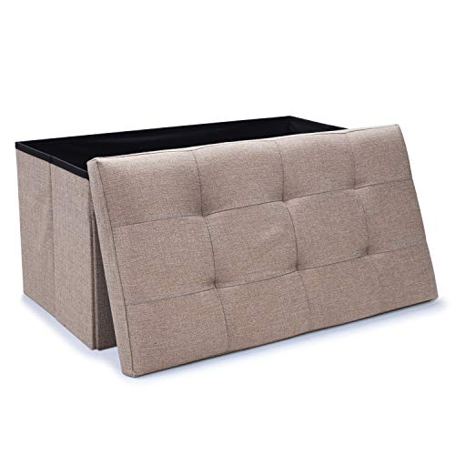 WoneNice Linen Folding Storage Ottoman Bench, Storage Chest Footrest Padded Seat, 30 x 15 x 15 in, Beige (Linen Chest)