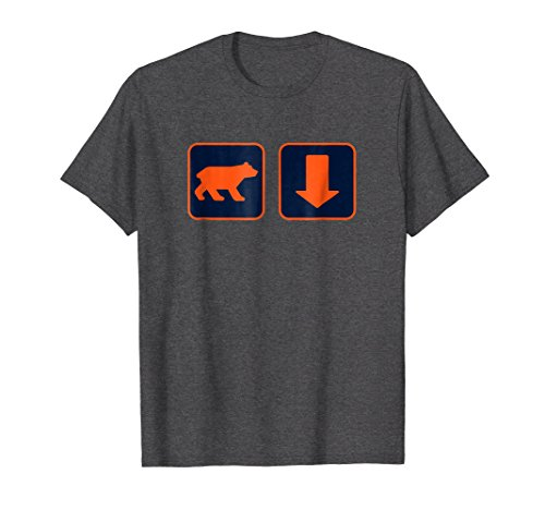 Mens Orange Bear and Arrow Pointing Down T Shirt 3XL Dark Heather