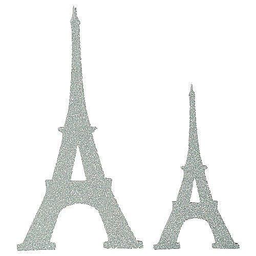 (Paris France Silver Glitter Eiffel Tower Cutouts Party Supplies Decorations)
