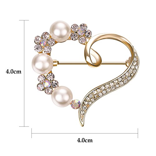 Yoursfs Love Heart Brooch Pin Style Delicate Simulate Pearl Rhinestone Rose Gold Plated Cocktail Dess Gift by Yoursfs (Image #2)'