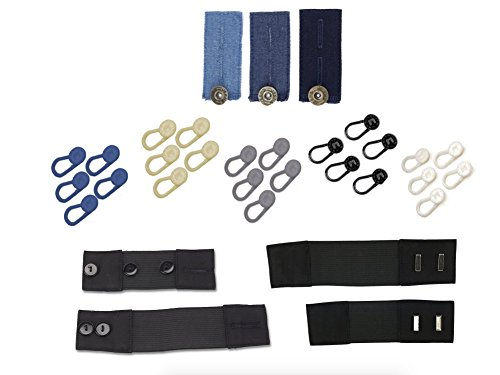 Comfort & Convenience 32-Pack Stretch Waist Extenders in Wide Range of Colors & Styles, Makes Pants Fit Comfortably, Instantly