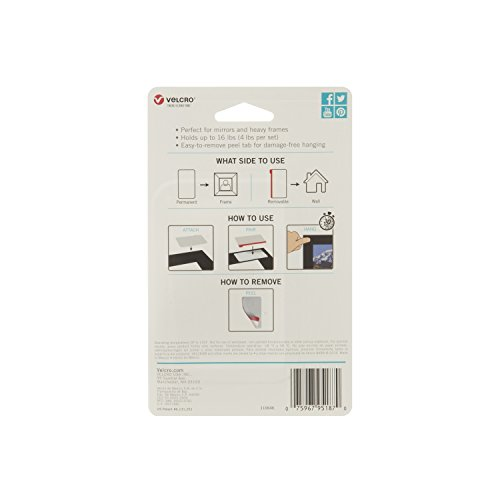 VELCRO Brand - HANGables - Removable Wall Fasteners, Large Strips - 8 ct Photo #2