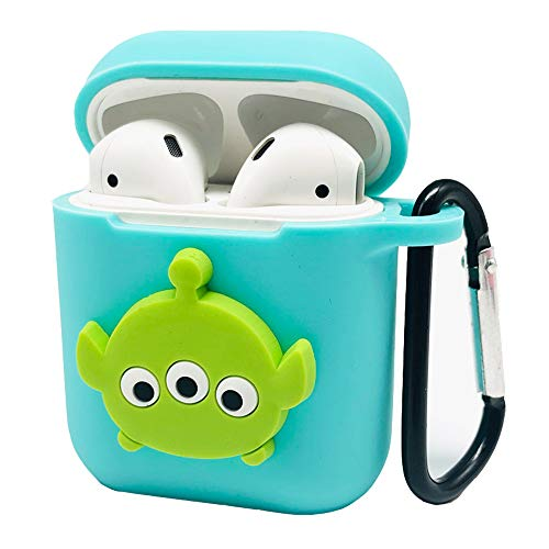 (Batter Airpods Case Airpods Accessories Protective Silicone Cover and Skin with Carabiner and Airpods Staps for Apple Airpods Charging Case (Mint Green))