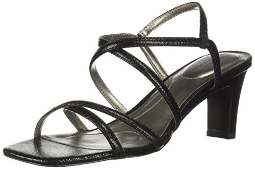 Bandolino Women's Obexx Heeled Sandal, Black Lizard, 8 M US Bandolino Womens Dress Sandals