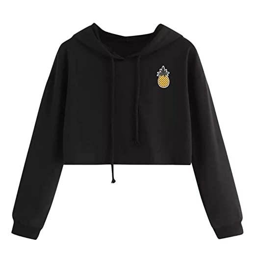 3c7e1122f COOKI Women Teen Girls Pineapple Crop Sweatshirt Hoodie Long Sleeve Crop Top  Hooded Sweatshirt Jumper Pullover