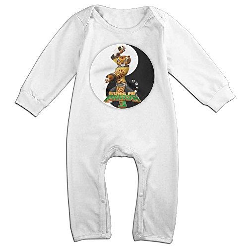 Tigress Kung Fu Panda Costume (KIDDOS Baby Infant Romper Kung Fu Panda 3 Tiger Long Sleeve Jumpsuit Costume,White 24 Months)