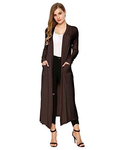 Mixfeer Womens Long Sleeve Open Front Long Maxi Cardigan Longline Duster Coat