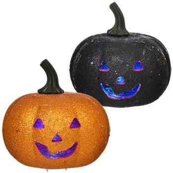 Orange & Black Glitter LED Flashing Light Pumpkin Halloween Decoration (Pack of 2/ 1 Orange