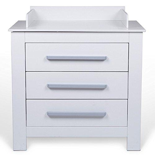 Table à langer avec trois tiroirs et bordure de sécurité Mixibaby