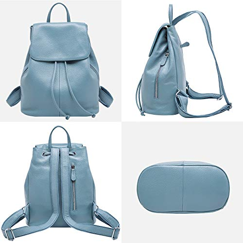 BOYATU Leather Backpack Travel Ladies Bag School for Elegant Shoulder Blue Genuine Elegant Women rZ5qrOx