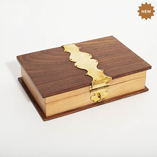 Rusticity Wood Decorative Jewelry Box - Book Shape | Handmade | (8x5 in) ()