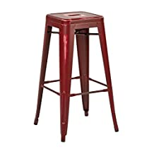 """OSP Furniture BRW3030A2-ARD Bristow 30"""" Antique Metal Barstool, Antique Red Finish, 2 Pack, Alb43211-11"""