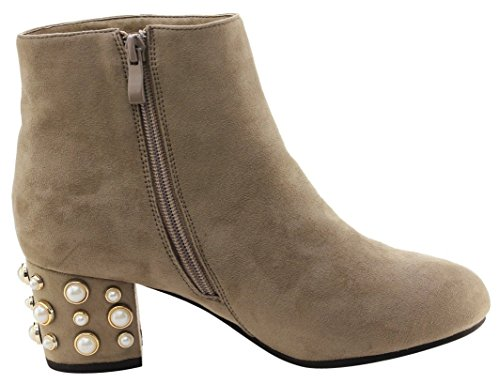 Taupe Stacked Bootie Embellished Pearl Ankle Heel Women's Chunky DBDK 8tFwHnq