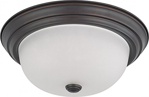 - Nuvo Lighting 60/3336 Two Light Interior Home Package Flush Dome with Frosted Glass, Mahogany Bronze, 13-Inch