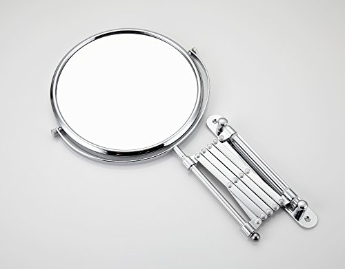 Allegro Huyer Wall Mount Makeup Mirror Bathroom Mirror Wall Mounted 8 inch Brass 3X/1X Magnifying Mirror LED Light Folding Makeup Mirror Cosmetic Mirror Lady Gift