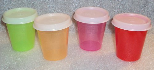 Tupperware Midgets Pill Containers 2 Ounce Bowls Red Pink Gr