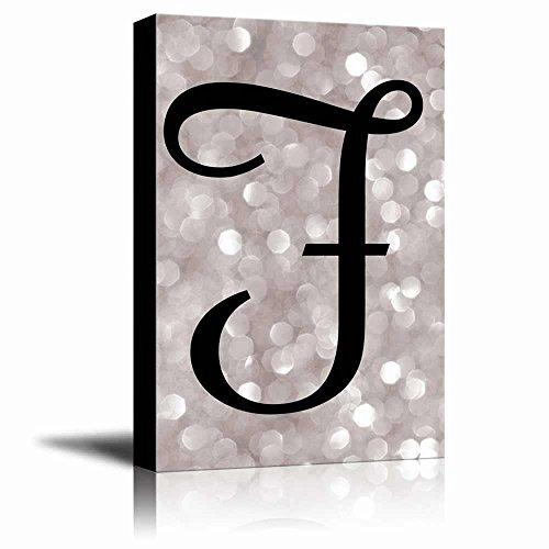 The Letter F in Brush Stroke Cursive on a Champagne Colored Bokeh Background Romantic Elegant Decor