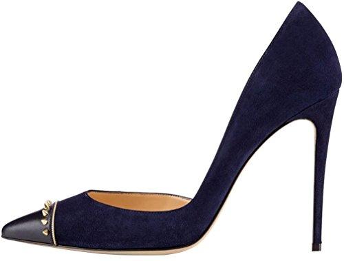 Calaier Damen Calanguage 11CM Stiletto Schlüpfen Pumps Schuhe Blau