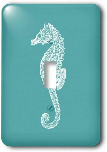 3dRose lsp_164965_1 Teal Blue Seahorse Print Sea Horse Ocean Marine Beach Aquarium Aquatic Light Switch - Horse Switch Light Covers