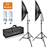 FOSITAN 20''x28'' Softbox Photography Lighting Kit with 2m Adjustable Stand 800W Continuous Lighting System Photo Studio Equipment for Model Portraits with 2pcs 85W Bulbs