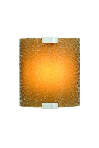 (LBL Lighting LW559BAMSILEDW Outdoor Wall Lights with Dark Amber Bubble Glass Shades,)