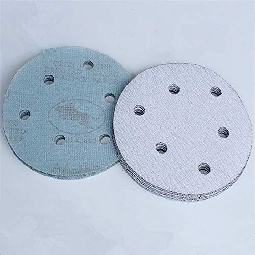 Maslin 100Pcs 5'' 125MM with 6 hole White Sander Sand Paper Sanding Disc Sanding Sheets - (Grit: 60) by Maslin (Image #2)