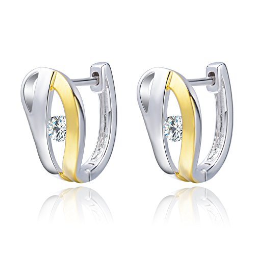 Joyfulshine Women 925 Sterling Silver Hoop Huggie Earrings Cubic Zirconia Ring Earrings XxSeF76ReX