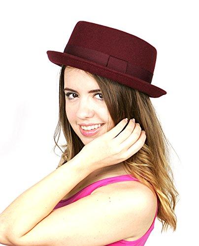 NYFASHION101 Women's Wool Felt Solid Color Band Accent Classic Porkpie Hat, Burgundy Classic Red Felt Hat