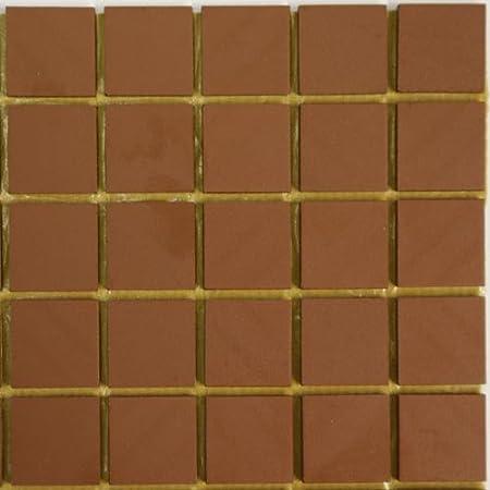 20mm Unglazed Ceramic Tiles Sheet Of 49 Tiles Red Amazon