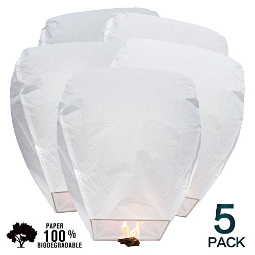 BATTIFE Sky Lanterns Chinese Biodegradable Paper Large Flying Lanterns Romantic Night 5 Pack for Party Sea Beach Holiday Vacation (White)