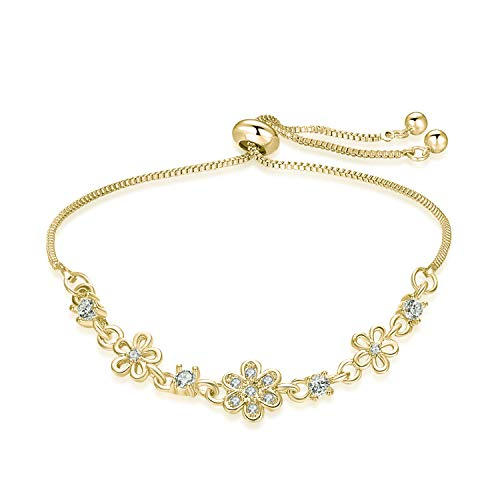BRIGHT MOON Adjustable Daisy Hollow Charm Bracelets for Woman Girls with Sparkling CZ Flowers and Humble Snake Chain(Yellow Gold)