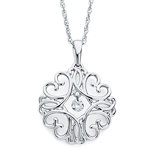Boston Bay Diamonds 925 Sterling Silver Dancing Diamond Heart Scroll Medallion Pendant Necklace, 18