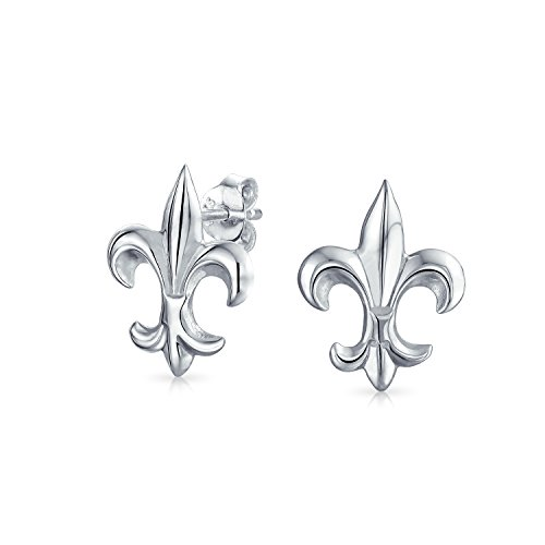 Minimalist Fleur De Lis Symbol Stud Earrings For Women For Men Shiny 925 Sterling Silver