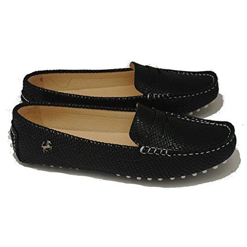 Minitoo comfortt Casual pour femme en cuir véritable à Chaussures bateau pour extérieur Multicolore - Noir - Black Snake, 36 2/3