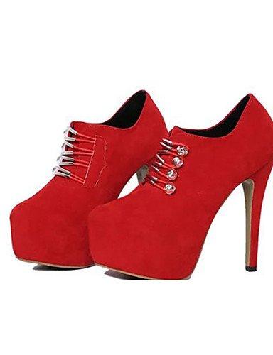 GGX/ Damenschuhe-High Heels-Lässig-Vlies-Stöckelabsatz-Absätze-Schwarz / Rot black-us6.5-7 / eu37 / uk4.5-5 / cn37