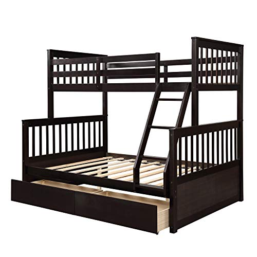 Wood Bunkbeds, Twin Over Full Bunk Bed with 2 Storage Drawers, Sturdy Wooden Bunk Frame, Twin Cot with Ladder and Safety Rails Convenience to Take Care of Your Children (Espresso)