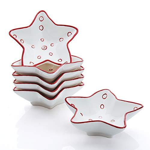 Hoomeet 2 oz Porcelain Ramekins, Dessert Bowls, Ice Cream Bowls, Snack Bowls, Dipping Bowls, Set of 6, Star Shaped. (Red) ()