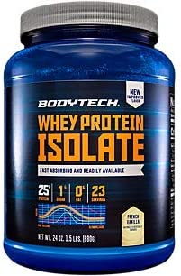 BodyTech Whey Protein Isolate Powder with 25 Grams of Protein per Serving BCAA s Ideal for PostWorkout Muscle Building Growth, Contains Milk Soy Vanilla 1.5 Pound