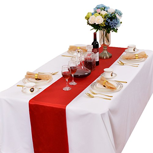 LOVWY Pack of 15 Satin Table Runner 12 x 108 Inch for Wedding Party Engagement Event Birthday Graduation Banquet Decoration (Colors Optional) (Red) ()