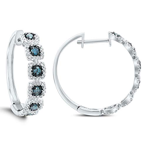 Diamond Couture 10K White Gold 0.09 Carats of Sparkling White Diamonds and 0.22 Carats of Shimmering Blue Diamonds Hoop Earrings for Women